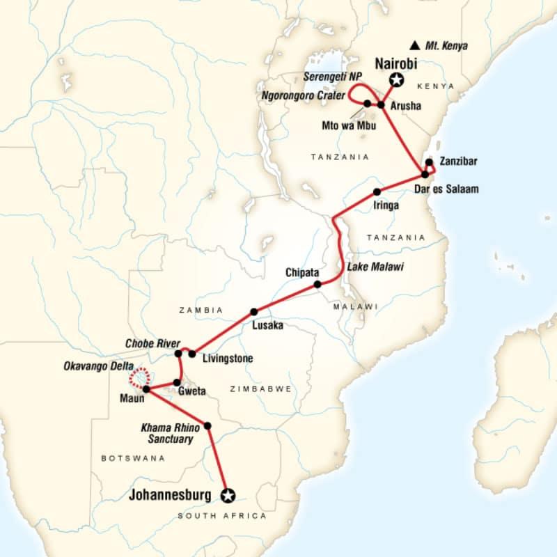 falls-beaches-serengeti-adventure-route